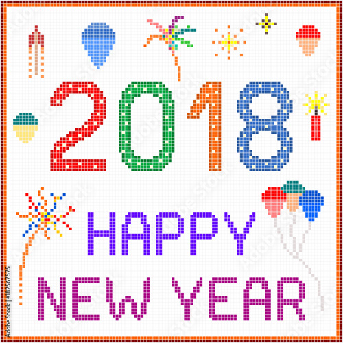 new year 2018 pixel message 2018 new year message with balloons and fireworks square