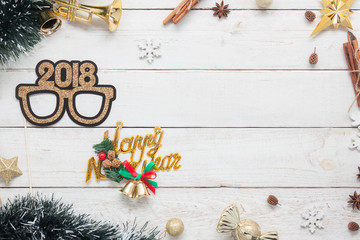 Flat lay serial image of Happy new year 2018 & Merry Christmas background concept.DIY photo booth props & decorations holiday party