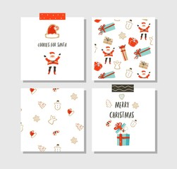 Hand drawn vector abstract fun Merry Christmas time cartoon cards collection set with cute illustrations,surprise gift boxes,Santa Claus,dog and modern calligraphy isolated on white background