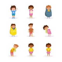 Sick children. Vector. Cartoon