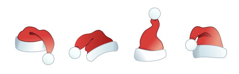 Weihnachtsmannmütze - Nikolaus Mütze - Banner mit 4 verschiedenen Weihnachtsmützen