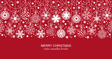 White seamless snow flake border isolated on red background, Christmas design for greeting card. Vector illustration, merry xmas snowflake header or banner, wallpaper or backdrop decor