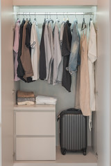 modern wardorbe style with clothes hanging
