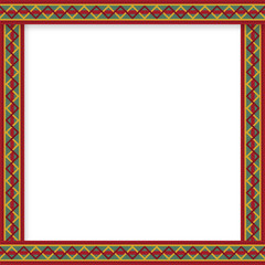 Cute christmas or new year border with zig zag pattern on red background.