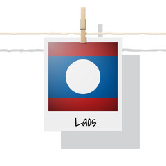 Asian country flag collection with photo of Laos flag on white background , vector , illustration