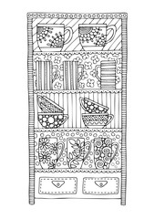 Teacup cabinet. Hand drawn picture. Sketch for anti-stress adult coloring book in zen-tangle style. Vector illustration for coloring page, isolated on white background.