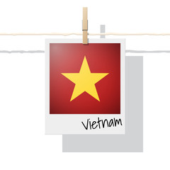 Asian country flag collection with photo of Vietnam flag on white background , vector , illustration