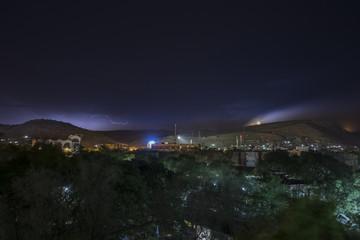 Dire Dawa, Ethiopia at night with lightning on the horizon.