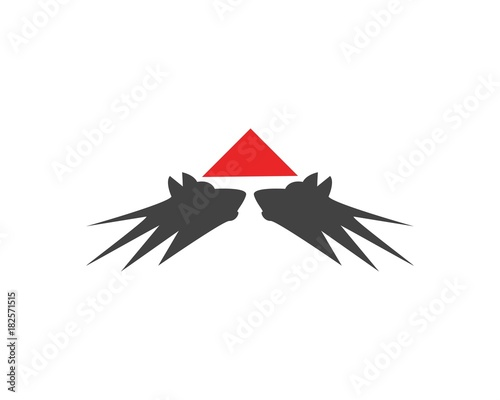 wolf head in mountain logo design template stock image and royalty