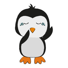 penguin crying cute animal cartoon icon image vector illustration design