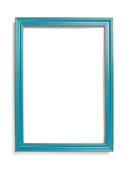 Blue frame for painting or picture on white background