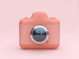 3d rendering pink toy camera set on minimal pink background lens reflection technology concept