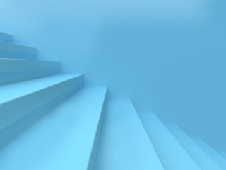 blue abstract scene wall staircase-step minimal background 3d rendering