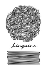 Poster design for traditional Italian pasta, Linguine in black outline and white plane on white background.