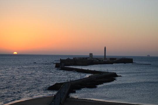 Atardecer en castillo de San Sebastián (Cádiz)