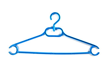 Blue plastic hanger for clothes on a white background.