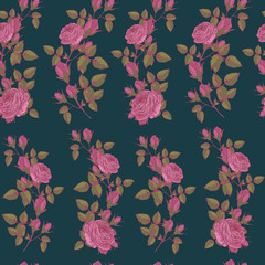Floral seamless pattern with pink roses in vintage style