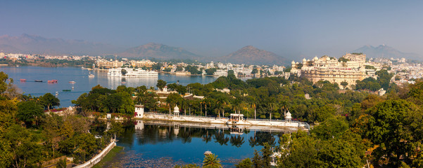 View of Udaipur, Rajasthan, India, Asia. Panorama.