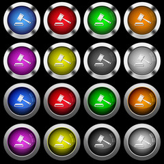 Auction hammer white icons in round glossy buttons on black background