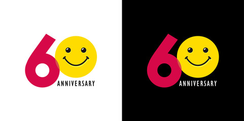 60 years old smiling logo. Congratulating celebrating 60th, 6th numbers, logotype with emotions. Isolated humorous colored greetings on black and white background or % off.