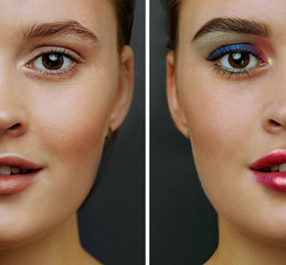 Female face, cut in half to present before and after makeup, beautiful makeup for the partyy