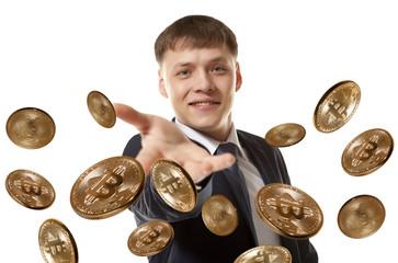 Businessman throwing bitcoin coin