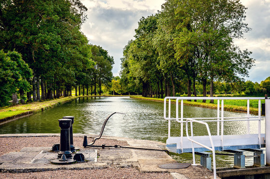 Lock on the Burgundy canal in France.