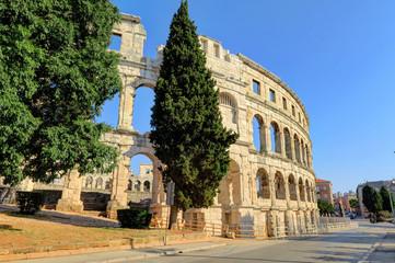 Exterior of Ancient Roman Amphitheater in Pula, Istria, Croatia, Europe