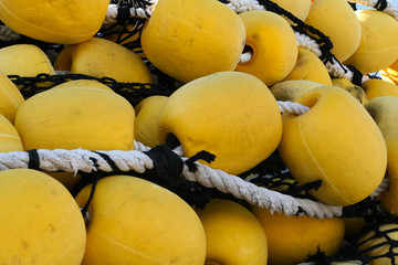 Industrial fishing net with large yellow floats