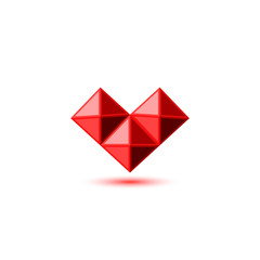 Crystal red ruby heart logo in gemstone faceted style. 3d geometric three pyramid shape with shadow. Design element template valentines day love symbol, wedding card emblem.