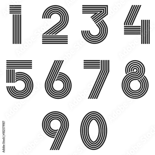 Numbers Set Thin Line Monogram Math Symbols Linear Black And White