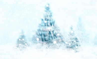 Christmas background fir-trees with decoration and snow, view from an icy window, New Year words