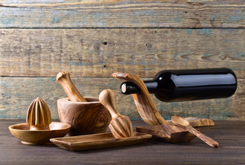 Set of wooden kitchen utensils .