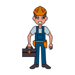 Construction worker avatar cartoon icon vector illustration graphic design