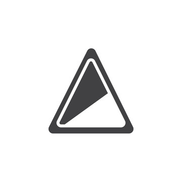Road sign steep slope icon vector, filled flat sign, solid pictogram isolated on white. Symbol, logo illustration.