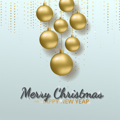 Greeting card, invitation with happy New year 2018 and Christmas