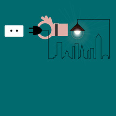 Creative hand with wire of light bulb with buildings and landmarks, idea and inspiration concept. City with light bulb. Vector Illustration.