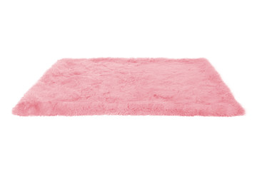Pink furry carpet. Isolated