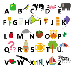 alphabet on the white background
