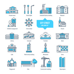 City street thin line icons, pictogram, symbol set. Buildings, architecture.