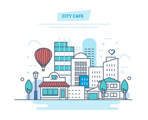 City cafe on city street. Coffee shop, cafe building.