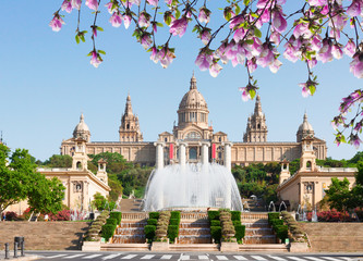 Self adhesive Wall Murals Barcelona Square of Spain - National museum of Barcelona with fountain at spring day, Spain