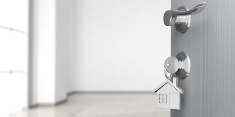 Apartment or home doorway with open door, blur empty room background. 3d illustration