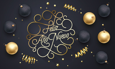 Feliz Ano Nuevo Spanish Happy New Year Navidad flourish golden calligraphy lettering of swash gold greeting card design. Vector golden decoration and Christmas text on holiday black background