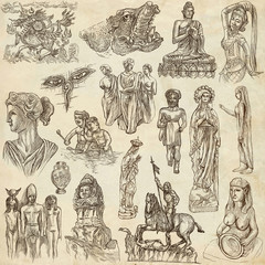 native and old art - hand drawn collection on old paper