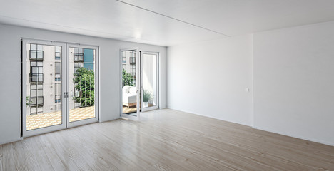 Empty room in a luxury urban apartment