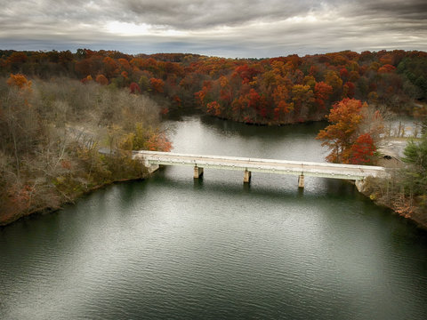 Drone shot of bridge Prettyboy Reservoir Park, Hampstead, Maryla
