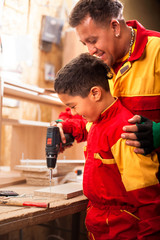 family, carpentry, woodwork and people concept