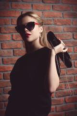 girl with handbag