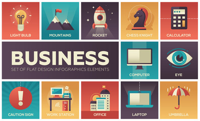 Business - set of flat design infographics elements